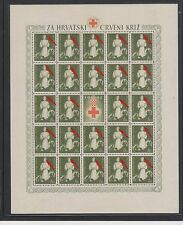 CROATIA,WWII ,red cross great error ,red star on cap (partisan ) sheet,MNH
