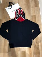 BNWT Moncler Mens Knotted Round Neck navy Jumper SIZE Large