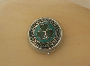 Small Celtic Shamrock Pill Box Made in England Green & Teal one compartment