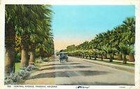 DB Postcard AZ L358 Central Avenue Phoenix Palm Trees Old Cars Dated 1931