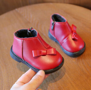 Baby Girls Winter Fur Linned Ankle Boots Sneaker Shoe Kids Casual Trainner Shoes