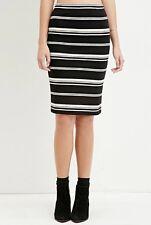 FOREVER 21 Striped Midi Skirt Black & Cream New Stylish Pencil Skirt Size S