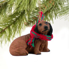 Dachshund Red Longhair Dog Tiny One Miniature Christmas Holiday Ornament
