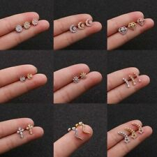 Women Gold Silver Cubic Zirconia Small Tiny Tragus Helix Piercing Stud Earrings