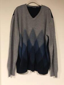 Pierre Cardin Men sz XL Blue Acrylic Diamond Print Long Sleeve V-Neck Sweater