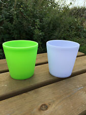 To Clear - Plastic Twin Pack Light Up Small Flower Pots - ! Clearance Sale !
