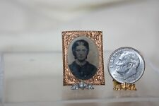 Miniature Dollhouse True Antique Tintype Photo Lady Mid 1800s Copper Frame NR