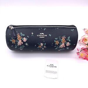 COACH 91787 Makeup Brush Holder Travel Case Rose Floral Flower Navy