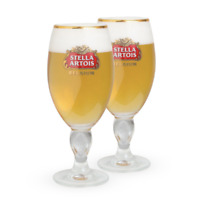 Lot of 2 Stella Artois Belgian 33 CL Gold Rimmed Beer Glass Goblet Belgium
