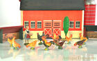 Lineol Elastolin Roosters & Chickens Barnyard Figures Set German Composite Farm