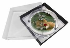 More details for kangaroo with red rose glass paperweight in gift box christmas present, ak-1rpw