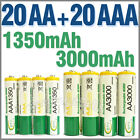 20 AA+20 AAA 1350mAh 3000mAh 1.2V NI-MH Rechargeable Battery 2A 3A BTY Green