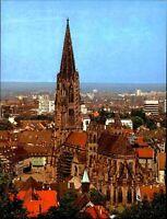 Kirchen Gebäude Motiv-AK Außenansicht Dom Kirche zu Freiburg mit Panorama