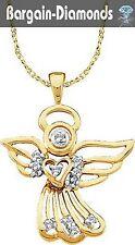 Guardian Angel Diamond Pendant .10-carats 10K gold saint healing protection