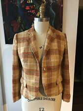 Vintage Seatona Suits Seaton Hall Three Button Orange & Brown Plaid Blazer Small
