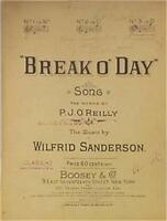 Antique Sheet Music Break O' Day 1915 Piano Vocals