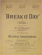 Antique Sheet Music Break O' Day 1915 Piano Vocals