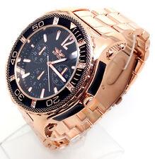 601V Men's Elegant Wrist Watch Rose Gold Band Chronograph Black Chunky Big Dial