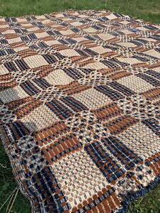 """Antique Early American Wool Coverlet  76"""" x 92"""" - 2 panels together"""
