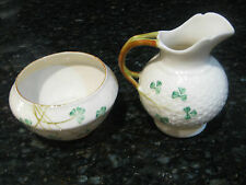 VINTAGE BELLEEK IRELAND SHAMROCK BASKET WEAVE OPEN SUGAR & CREAMER PITCHER
