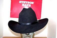 Stetson Cowboy Hat 4X Beaver Fur Black Vintage Rare Fresno F2091 NICE?71/4 ?58