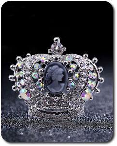Spilla Vintage Corona Aristocratico, Cameo Sposa Strass Trasparente