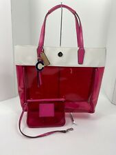 Coach Bag Clear Vinyl Beach Tote F29263 Pink Pomegranate White B2E