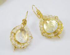 Otomano Gemas Semi joya preciosa piedra Pendientes Chapado en Oro Cristal Cuarzo handmde