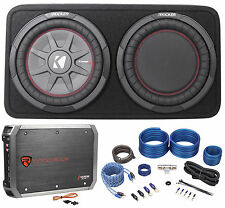 "Kicker 43TCWRT104 10"" Shallow Car Subwoofer In Slim Sub Box+Amplifier+Amp Kit"