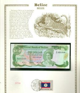Belize Banknote 1 Dollar 1987 P 46c UNC  w/FDI UN FDI FLAG STAMP A/11 552208