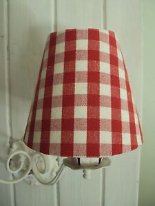 LAURA ASHLEY RED GINGHAM CHECK**CANDLE LAMPSHADES GORGEOUS COUNTRY STYLE**