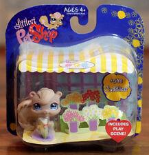 2007 RARE Littlest Pet Shop #540 Tan Squirrel w/ Flower Shop Play Scene MINT