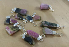 BIcolor & tri color Watermelon tourmaline crystals Pendants necklace 12 PCs lot