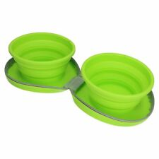 Collapsible Silicon Portable Dual Pet Dog Bowl Travel Accessory