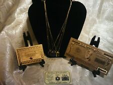 US SELLER~GOLD$100,000 Banknote Rep.*W COA+4 GENUINE GEMSTONE-NECKLACEz FREE S&H