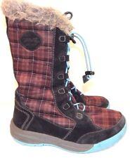 Teva Girls Sz 1 Lenawee Boots Faux Fur Plaid Lace Up Waterproof EUC Free Ship