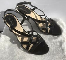 NEW Cole Haan Air Vineyard Black Patent Leather Studded Slingback Sandals 9.5