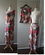 Vtg 1960s Groovy Lurex Floral Wide leg pant top set M