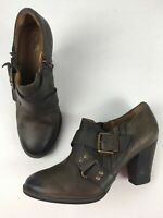 WOMENS CLARKS UK 5 D EU 38 BROWN LEATHER BUCKLE STRAPS CONE HEEL ANKLE BOOTS
