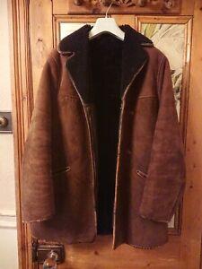 "Vintage Mens Sheepskin Coat, Jacket Medium /Large 40"""