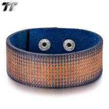 TT Thick Blue Orange Leather Bracelet Wristband (PK59) NEW