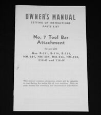 Farmall B H M No 7 Vegetable Cultivator Tool Bar Attachment Owner Parts Manual