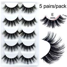 5 Pairs Faux Mink Fur 3D False Eyelashes Cross Dense Eye End Stretched Lashes