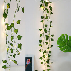 2M 20LED Leaves Ivy Leaf Garland Fairy String Lights Party Garden Decor Lamps
