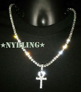 Hip Hop Silver IP Tennis Chain ANKH Pendant Choker VVS Lab Diamond ICED Necklace
