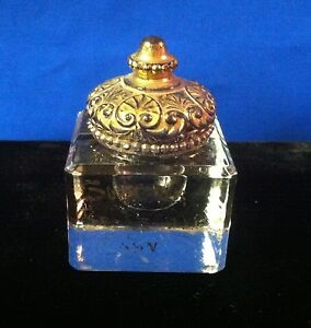 Victorian Glass Inkwell with Gold Top