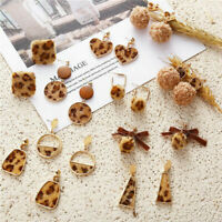 Bohemia Geometric Women Leopard Round Dangle Drop Hook Ear Stud Earrings Jewelry