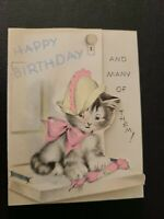 Vtg Rust Craft Birthday Greeting Card Kitten Cat Pink Bow party hat 1930s