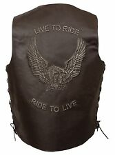 "Mens Brown Solid Leather ""Live to Ride"" Eagle Embossed Vest Side Lace Gun Pocket"