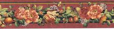 Florals and Fruit with Butterflies Narrow Wallpaper Border  KC063245B